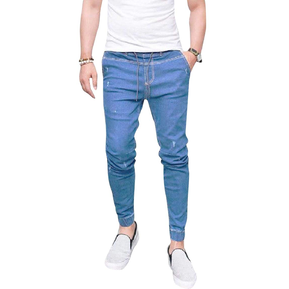 Mirrliy Mens Skinny Plus Size Elastic Waist Casual Bottom Jeans Pants