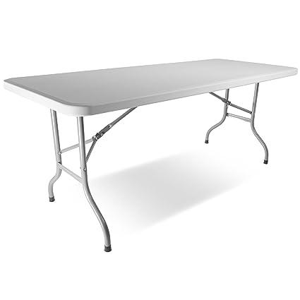 Bon Titan 2.5u0027 X6u0027 Plastic Table Solid Rectangular Folding Legs Indoor Outdoor  Gray