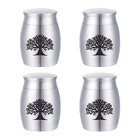 SG Pack of 4 Small Cremation Urns for Human Ashes – Stainless Steel Mini Cremation Urn, Always in My Heart Miniature Memorial Funeral Urns for Sharing Ashes 40mmx30mm