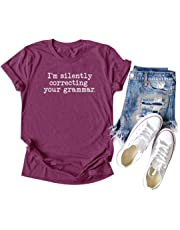 Chulianyouhuo Women Teacher T Shirt I'm Silently Correcting Your Grammar Short Sleeve Funny English Lovers Tees