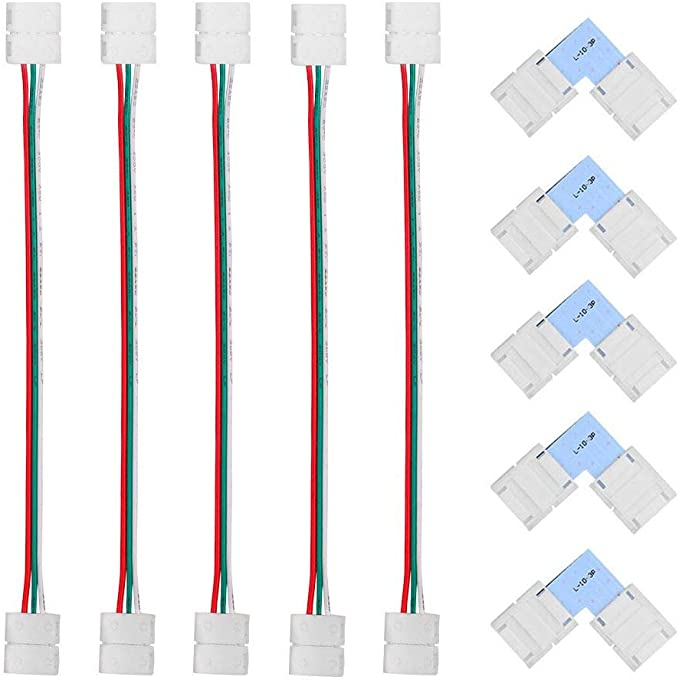 LED Strip Connector Kit, 5-Pack 3Pin L Shape 10mm Wide Right Angle Corner Solderless Connectors, 5-Pack 3 Conductor for WS2811 Chasing LED Strip Jumper Lights - Strip to Strip - - Amazon.com