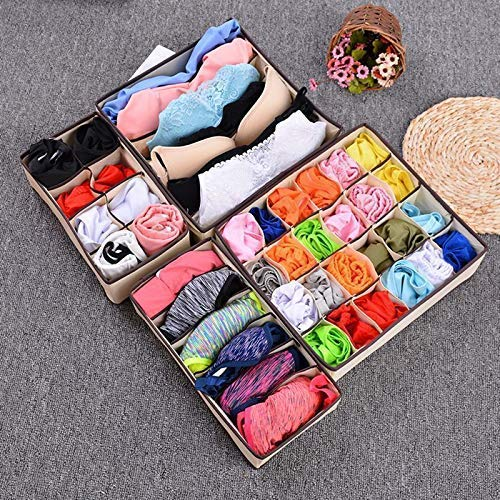 Set of 4 Beige Closet Underwear Bra Socks Organizer Drawer Divider Storage Boxes