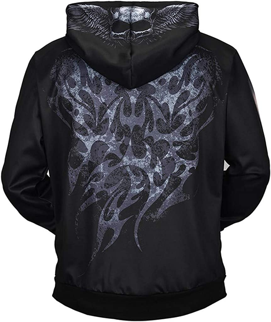 Mens Long Sleeve Casual Loose Skeleton Patterns Print 3D Sweaters Fashion Hoodies Pullover Sweatshirts Gray
