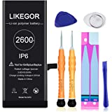 LIKEGOR New Battery for iPhone 6, 2600mAh Replacement Battery Model A1586, A1589, A1549 with Complete Repair Tool Kits and In