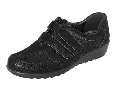 Damen Leichte Kunstleder Slipper Damenschuhe Flache Komfort Schuhe mit Reißverschluss oder Klettverschluss (EU 37 UK 4, Schwarz Reißverschluss) Cushion-Walk