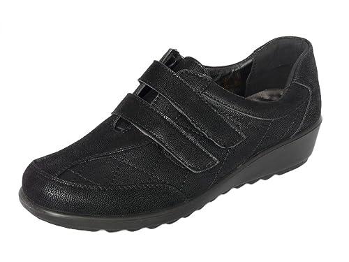 Cushion Walk Zapatos Negros de Mujer, Mocasines Ligero, Cuero de Imitación, Zapatos Cómodo Sin Cordones - Cierre de Cremallera o con Cierre Táctil: ...