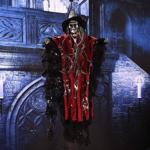 (Horror Halloween Accessories Red/purple/Coffe Grim Reaper Halloween Hanging Ghost Home Door Bar Club Scary Halloween Decoration)