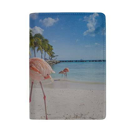 Pink Flamingo Walking On The Blue Salt Lake Sea Blocking Print Passport Holder Cover Case Travel Luggage Passport Wallet Card Holder Made With Leather For Men Women Kids Family