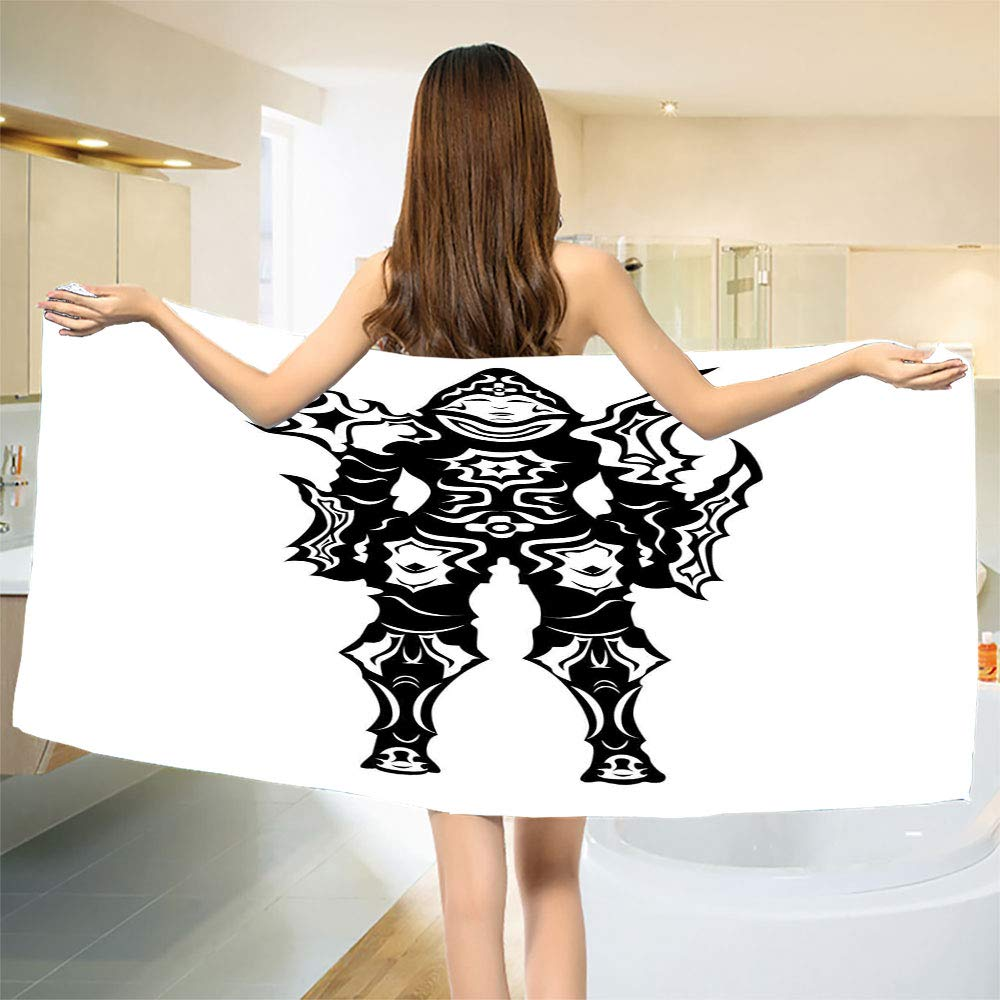 smallbeefly Video Game Bath Towel Illustration of a Figure in Black and White Fiction Fantastic Creatures Image Bathroom Towels Multicolor Size: W 27.5'' x L 62''