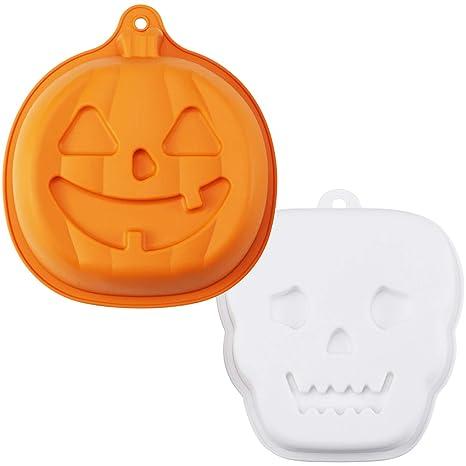 HULISEN 2 moldes de silicona para hornear Halloween, calabaza con forma de fantasma, moldes