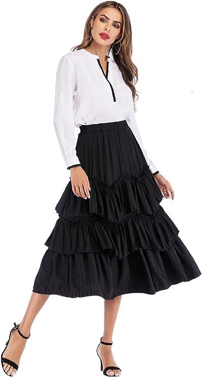 Pleated Skirt Shybuy Womens Elastic 3 Layered Short Skirt Adult Ballet Skirt
