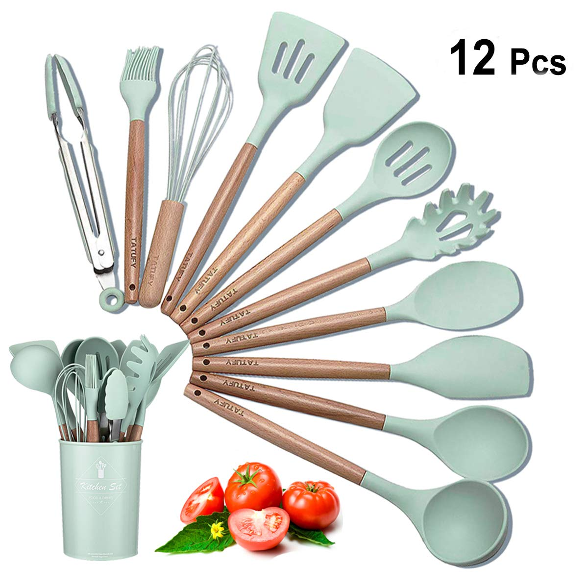 11 PC Silicone Cooking Utensils Kitchen Utensil Set with Holder,Tatufy Silicone And Acacia Wooden Utensils for Nonstick Cookware Non Toxic Turner Tongs Spatula Spoon Set Great Kitchen Tools for Gift