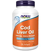 NOW Supplements, Cod Liver Oil, Extra Strength 1,000 mg with Vitamins A & D-3, EPA...