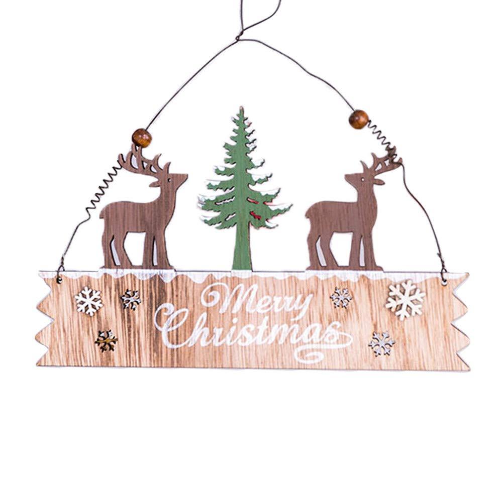 Lovewe Christmas Elk Wood Plate,Hollow Door Hanging,Wooden Pendant,Xmas Ornaments Decor (A)