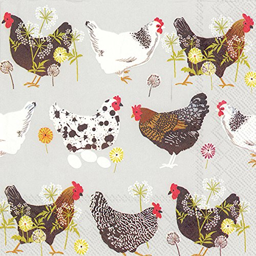 Chickens Paper (Ideal Home Range 20 Count Spatter Hens Grey Paper Cocktail Napkins)