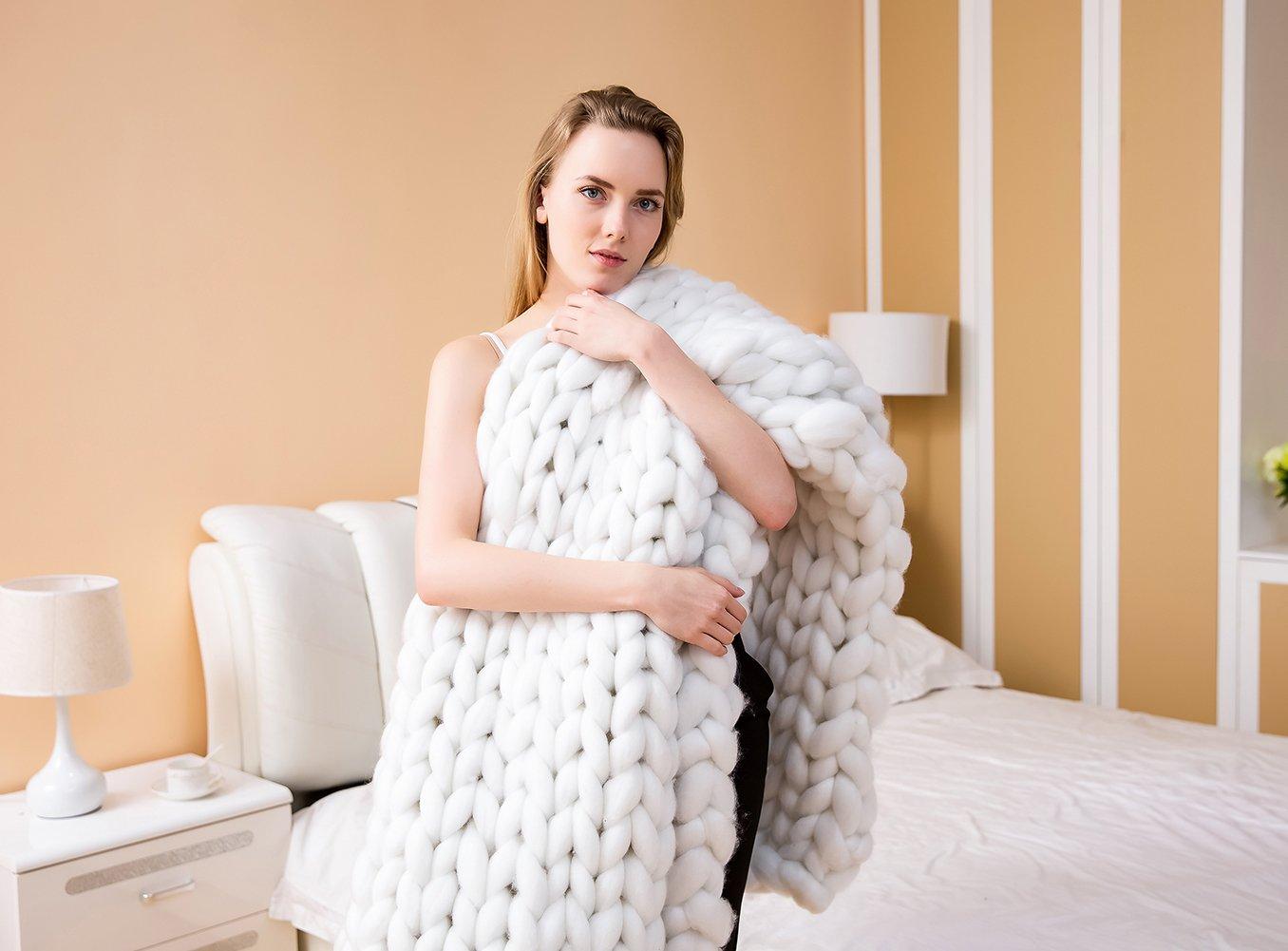 eacho Knit Blanket Chunky Sofa Pet Mat Soft Knitting Throw Bed Blanket Bedroom Decor, White, 40'' 79''