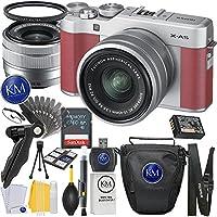 Fuji X-A5 Mirrorless Digital Camera w/ XC15-45mm Lens Kit (Pink) + 32GB Memory + K&M Photo Accessory Bundle