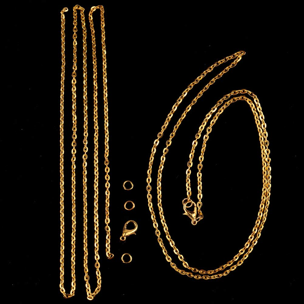 Gold WUBOECE 39 Feet Curb Chain Necklace Bulk Cable 2mm Width with 30 Lobster Clasps and 100 Open Jump Rings for Jewelry Making