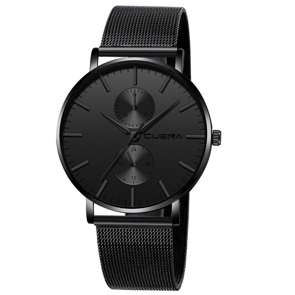 Minimalist Wrist Watches for Men, Unisex Analog Quartz Watch with Steel Mesh Strap 30m Waterproof by Bravetoshop(E)