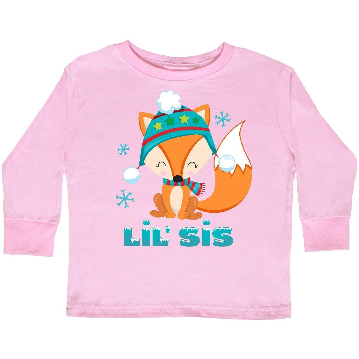 inktastic Christmas Fox Little Sis Toddler Long Sleeve T-Shirt