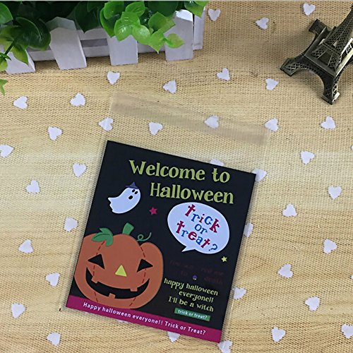 Smartcoco 100pcs Spooky Pumpkin Halloween Trick or Treat Plastic Candy Bags for Party Favors, Snacks, Decoration, Children Arts & Crafts, Event (Creepy Halloween Treats Adults)