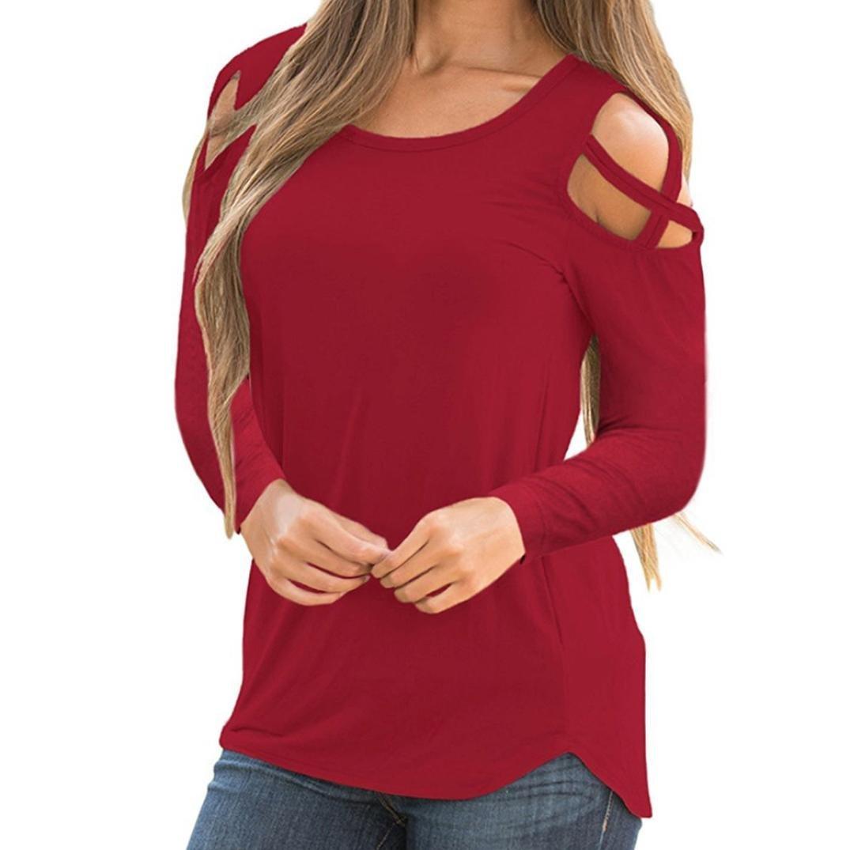 Blue1, L Teresamoon Cold Shoulder Long Sleeve T Shirts O Neck Tops Casual Criss Cross Tunic Blouse