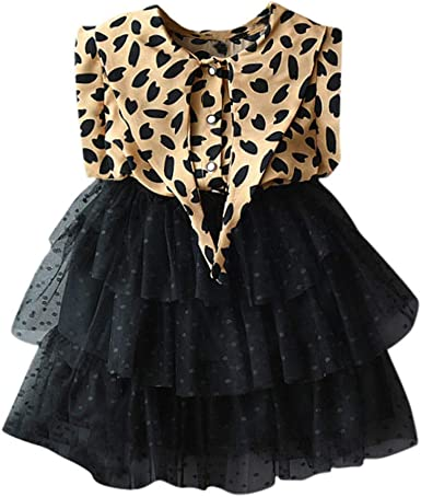 US Toddler Kids Baby Girl Princess Denim Leopard Tulle Party Dress Skirt Clothes