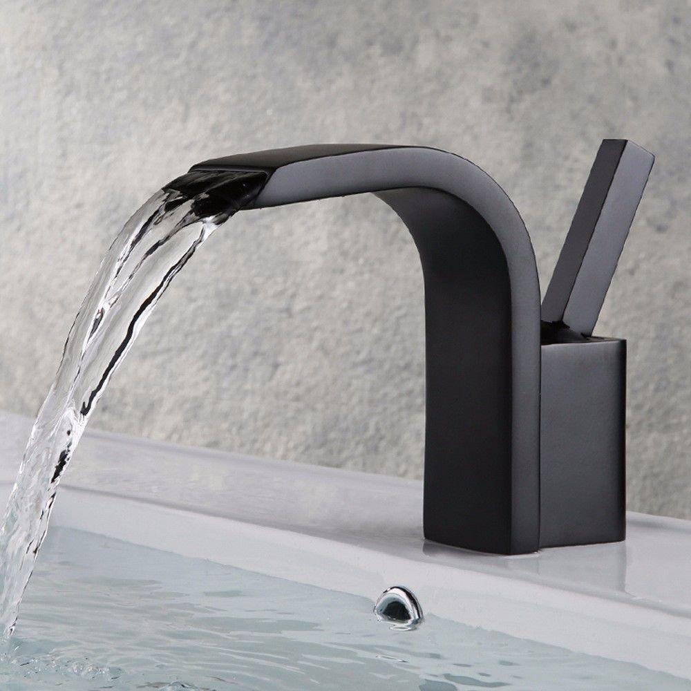 Hlluya Wasserhahn für Waschbecken Küche Alle Kupfer einzigen Griff einzelne Bohrung Wasserfall Waschtisch Armatur Waschbecken Wasserhahn Schwarz