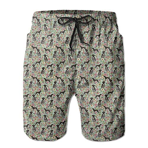 German Shorthair Pointer Floral Dog Men's Swim Trunks Quick Dry Bathing Suits Summer Casual Surfing Beach Shorts