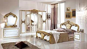 Schlafzimmer Elisa in weiss Gold 6 türig Luxus italienische Möbe ...