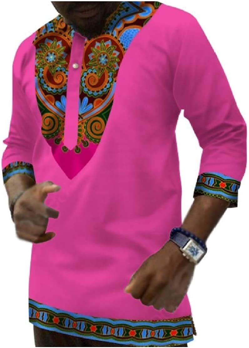 Comaba Mens Stylish African Folk Style 3//4 Length Plus-Size Painting Tees Shirt