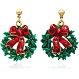 cocojewelry Christmas Wreath Red Bow Poinsettia Post Stud Earrings