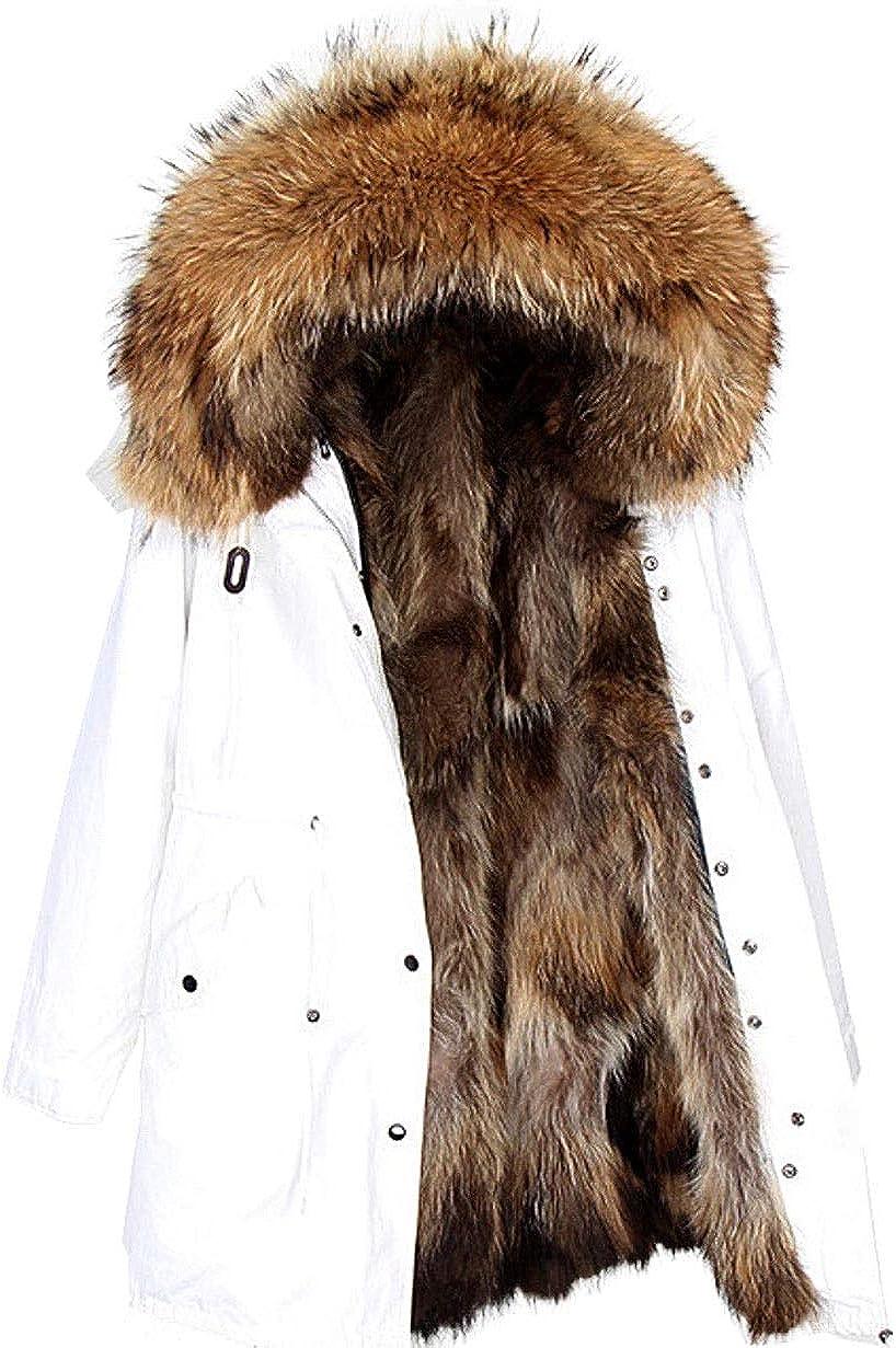 Lea Marie Damen Luxury Parka XXL Kragen aus 100/% ECHTPELZ ECHTFELL Jacke Mantel Fuchspelz Innenfutter