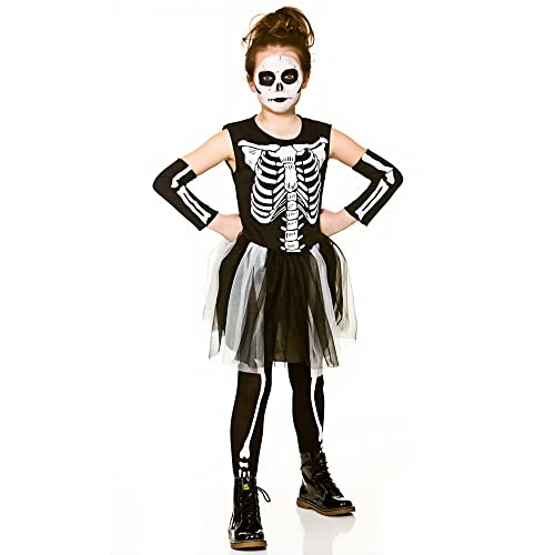 girls skeleton tutu halloween fancy dress costume 5 7 years