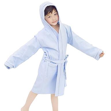 bf69d8e512 FCTREE Boys Girls  Waffle Robe Kids Hooded Bathrobe Toddler Spa Party Robe  Cotton Pajamas