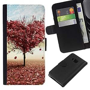 All Phone Most Case / Oferta Especial Cáscara Funda de cuero Monedero Cubierta de proteccion Caso / Wallet Case for HTC One M9 // Tree LOVE