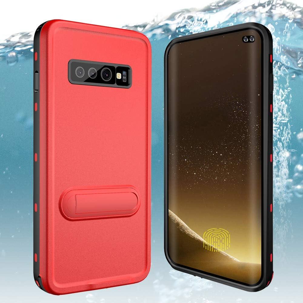Galaxy S10 Plus Waterproof Case,ZERMU Colorful Kickstand Shockproof Snowproof Case IP68 Underwater Full Body Protection Built-in Screen Protector Underwater Waterproof Case for Samsung Galaxy S10 Plus