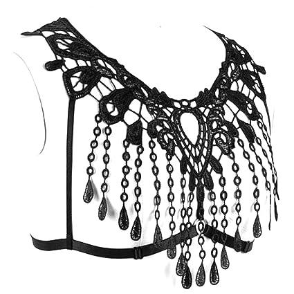 Amazon Com Lace Crop Tops Harness Body Bra Sheer Breast Bralette