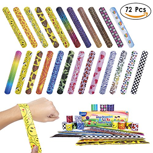 COVASA Slap Bracelets Party 72 PCs(24 Designs)Hearts/animal Print Kids Toys Christmas (Middle School Halloween Games Classroom)