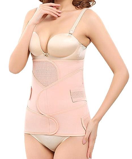 cff52e1ef1 3 in 1 Postpartum Support Recovery Belly Wrap Waist Pelvis Belt Body Shaper  Postnatal Shapewear at Amazon Women s Clothing store