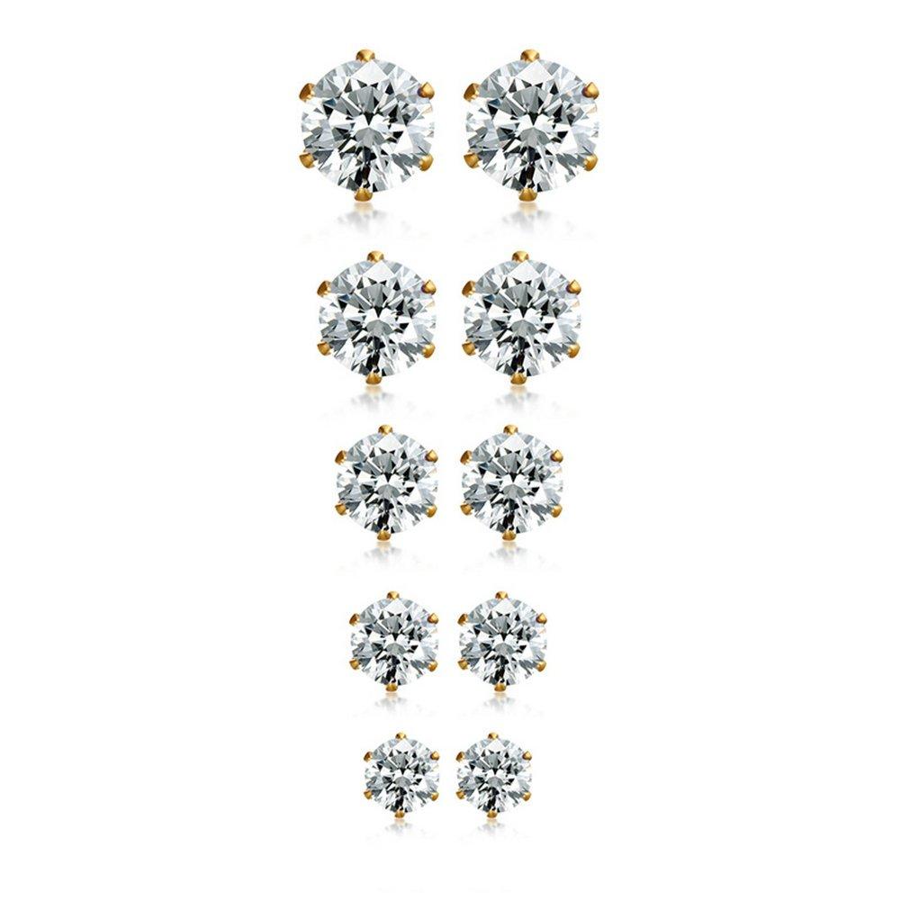 Herinos Titanium Stud Earrings Set Cubic Zirconia 5 Pairs Stainless Steel Round Gold Earrings for Women Girls
