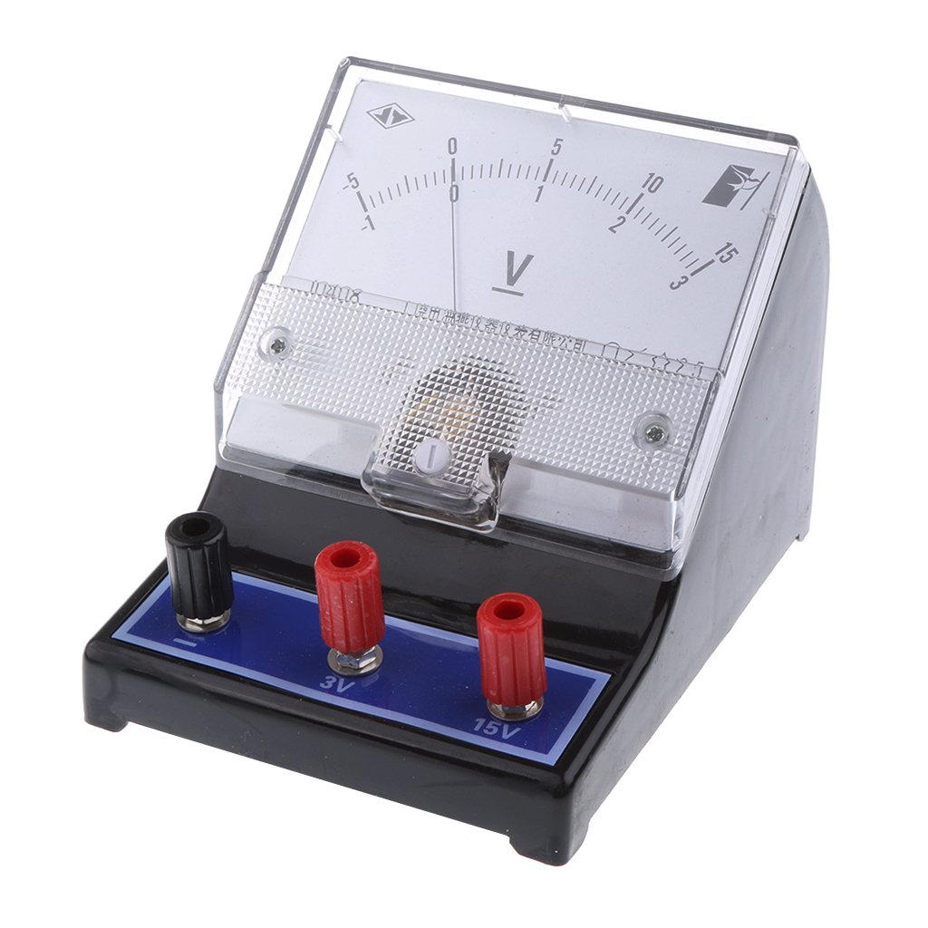 Homyl Analog Voltage Testing Meter Voltmeter Gauge -1-0-3V and -5-0-15V Size approx. 5.12×3.8×3.7inch
