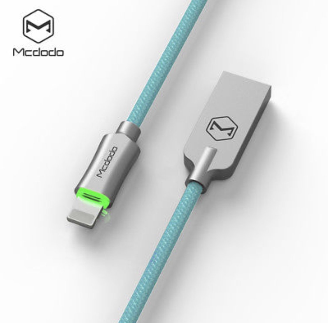 Mcdodo iPhone Smart LED Auto Disconnect Lightning nylon Braided 4FT/1.2M Sync Charge USB Data Cable For iPhone 8/8 Plus X 7/7 Plus, 6/6 Plus, 6s/6s Plus, 5s/5c/5, iPad Pro/Air /mini ,iPod (Blue)