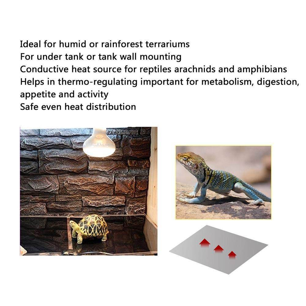 Crawler Lizard Tortoise Gecko Snakes Roebii Reptile Heat Mat 20W Reptile Heating Pad Adjustable Under Tank Heater with Temperature Control Safety Aquarium Thermostat for Reptiles Turtle Spider