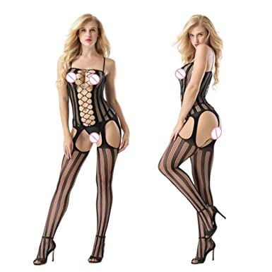 ee910959c2f Housesczar Lingerie Body Stocking Fishnet Open Crotch Women Babydoll See  Through Hollow Out Halter Bodysuit: Amazon.in: Clothing & Accessories