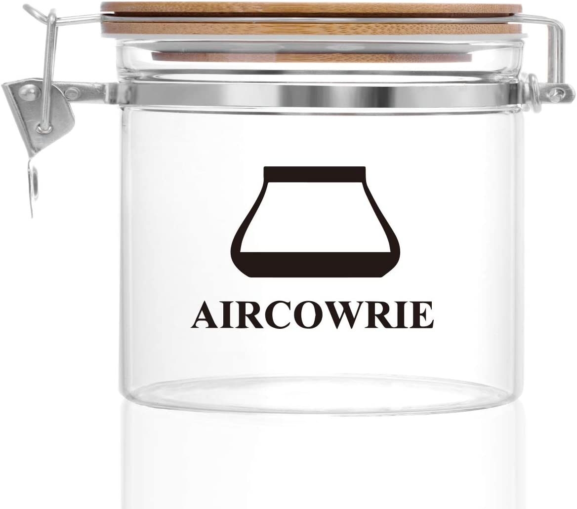 Food Storage Jar, AIRCOWRIE 16 oz (500ML)High Borosilicate Glass Jars with Airtight Bamboo Lids Locking Clamp, Clear Glass Storage Canister for Coffee Tea Sugar Cookie Spices and More