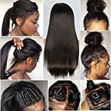 CLbuxi Hair 8A Full Lace Wigs Straight Human Hair Brazilian Virgin Hair Glueless Lace Front Wigs for Black Women Full Lace Human Hair Wigs with Baby Hair (18 inch,full lace wig)
