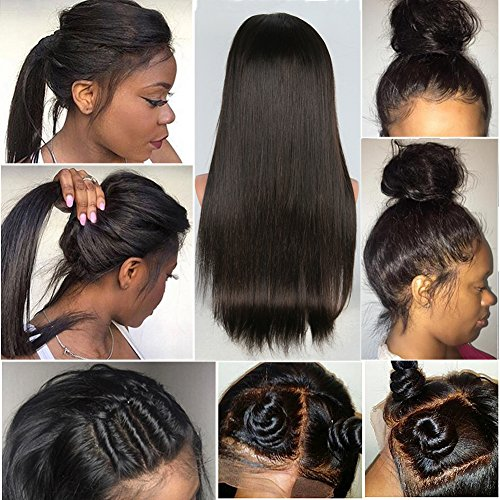 CLbuxi Hair 8A Full Lace Wigs Straight Human Hair Brazilian Virgin Hair Glueless Lace Front Wigs for Black Women Full Lace Human Hair Wigs with Baby Hair (18 inch,full lace wig) by CLbuxi Hair