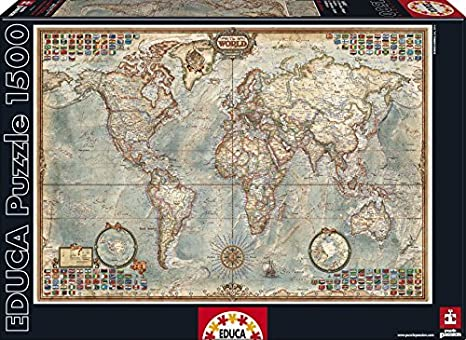 Amazon.com: Educa Political Map of The World Puzzle, 1500-Piece by ...