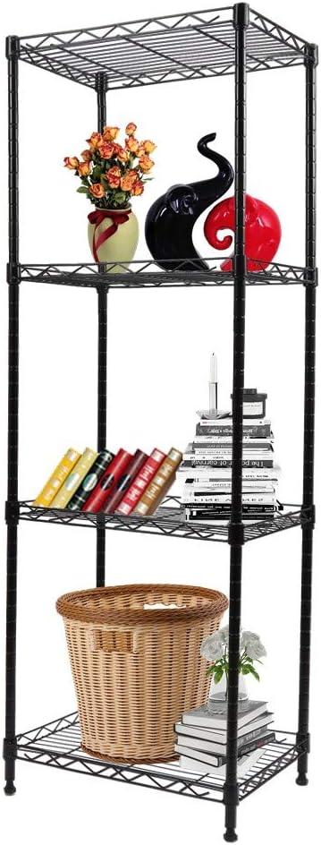 YOHKOH 4-Tier Wire Shelving Unit Metal Storage Rack Adjustable Organizer Perfect for Pantry Laundry Bathroom Kitchen Closet Organization (Black)